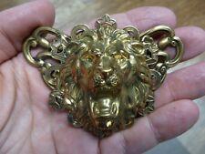 big wild cat head brass pin pendant (B-Lion-607) Lion big cat roaring love Lions