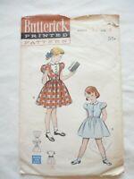 VTG 1950's Butterick Sewing Pattern Girls Dress Size 6