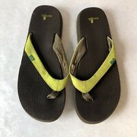 Sanuk Womens Size 8 Lime Green Yoga Bliss Yoga Mat Flip Flop Sandals