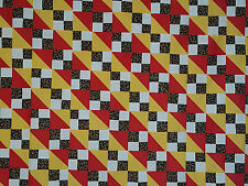 Unfinished Quilt Top- Black Flowered 4-Patch, Red & Gold Diagonals, approx 59x74