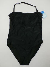 SwimSuits For All Women's  Tropiculture Fringe Bandeau Swimsuit Black Size 16