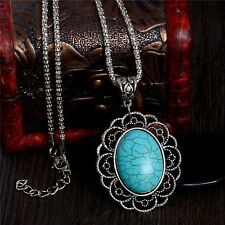 New Fashion Turquoise Stone Vintage Women Sweater Chain Necklace Jewelry Gift