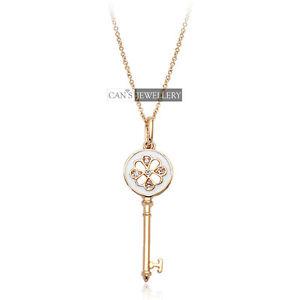 18K Rose GP Four Leaf Clover Key Necklace w SWAROVSKI ELEMENTS CRYSTALS N236