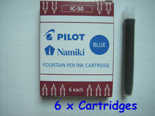 6 x PILOT Namiki Fountain Pen Ink Cartridge Refills, IC-50, BLUE