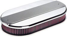 BILLET SPECIALTIES RIBBED POLISHED ALUMINUM AIR CLEANER,OVAL DUAL QUAD,15650