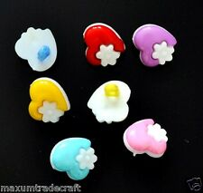 20pcs assorted nylon heart + white flower buttons approx 15mm for kids