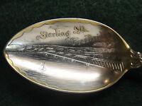 Sterling Souvenir Spoon Sterling, IL Free Bridge, 1900