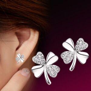 925 Sterling Silver 4 Leaf Clover Shamrock Rhinestone Butterfly Stud Earrings UK