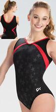 NWT E3882 Black Star V neck GK ™ gymnastics leotard Free Scrunchie CM