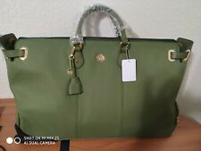 Green Joy Mangano Christie Collection Staffiano Leather Weekender Duffle Bag NWT