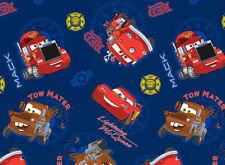 "18"" REMNANT  DISNEY PIXAR CARTOON CARS CAR 100% COTTON FABRIC LIGHTNING MCQUEEN"