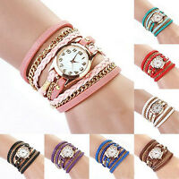 Hot Quartz Weave Wrap Around Leather Bracelet Fashion Lady Women Wrist Watch