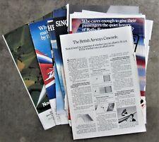10x BRITISH AIRWAYS & CONCORDE Airlines Vintage Magazine Page Advertisements Ads
