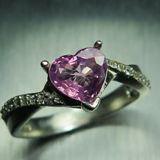 Natural pink Spinel heart & white diamonds 9ct 375 white gold engagement ring