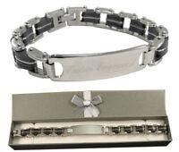 Custom Engraved Men's ID Bracelet steel chunky design Lifetime Guarantee BR4