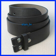 BLACK PLAIN LEATHER BELT STRAP SNAP ON NO BUCKLE CASUAL DRESS MENS WOMENS