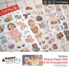 Afrocat Paper Doll Mate V2 (Transparent) Stickers Party Favor Diy Child 6 sheets
