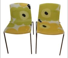 Acrylic and Chrome Marimekko Floral Pattern Chairs