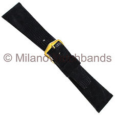 22mm T&C Black Genuine Lizard Flat Unstitched Square Edge Watch Band Mens SHORT