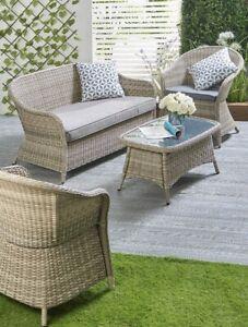 Luxury Conservatory 4 Piece Rattan Dining Garden Furniture Sofa Set
