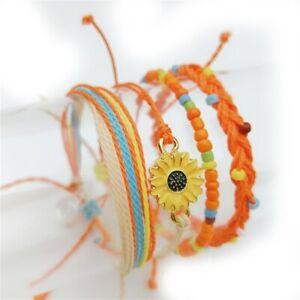 Boho Woven Sunflower Bracelets for Women Teens Girls Boy Kids Handmade Wrap Rope