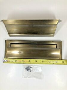 Vintage Antique Brass Bronze Letter Slot Door Mount Mail Box Double Side In Out