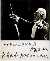 RUSSIAN Composer KHACHATURIAN Hand SIGNED AUTOGRAPH + PHOTO + DECORATIVE MAT