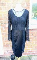 M&S Per Una Size 12 Black Satin Lace Long Sleeve Bodycon Pencil Wiggle Dress