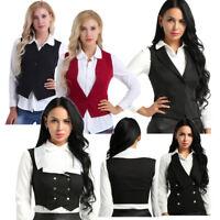 Women Gothic Steampunk Vest Coat Jacket Waistcoat Vintage Crop Top Party Costume
