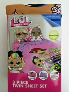 L.O.L Surprise 3 Piece Twin Sheet Set Pillowcase Kids Girls Pink New Microfiber