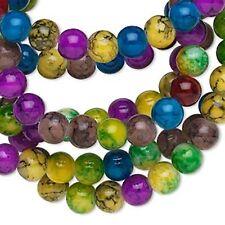 6951 Glass Beads Round 10mm 36 inch Multi Coloured *UK EBAY SHOP*