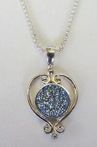 Women's Silver Plated Heart Sajen Sky Druzy Quartz Pendant  w/18 Inch Chain