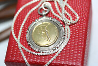"Vintage Golden Sterling Silver FOB 1"" Medal Shield Cricket Pendant 16"" Necklace"