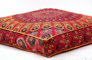 "35"" Indian Mandala Bohemian Ottoman Cotton Meditation Floor Pillow Cover Dog Bed"