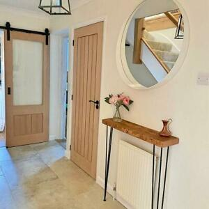 Reclaimed Console Table with Hairpin Legs 45mm Thick Rustic Hallway Table, Entry