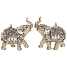 SET OF TWO Silver Pearl Elephant Small 11cm Gold Statue Ornament Figurine