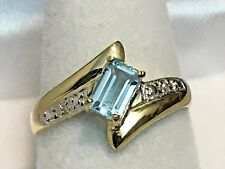 10K YELLOW GOLD .55 CARAT NATURAL BLUE TOPAZ & DIAMOND RING + RING BOX