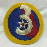 """Vintage Military Patch 3rd Army Air Force Embroidery on Wool 2 3/8"""" Dia 3"""
