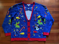 Jolly Sweaters Men's Ugly Christmas Blue Festive Snowman Party Size XXL 50-52