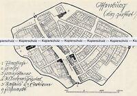 Offenburg - 1689 zerstört - Grundsriss der Stadt - um 1935 - selten!   N 7-6