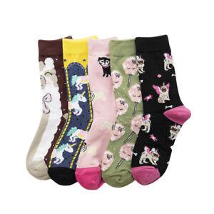 Ladys Womens Cotton Crew Socks Funny Cartoon Animal Alpaca Cat Dog Dress Socks