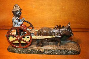 Original Cast Iron Mechanical Bank MAN ON CART by J & E Stevens Cir.1888