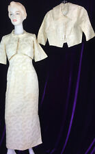 Chic 60s Column Gown White Brocade 2 Jackets Evening Audrey Marilyn