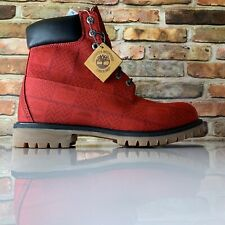 """TIMBERLAND MENS A27RA MEN'S 6"""" PREMIUM RED LEATHER BOOT Logo Size 11"""