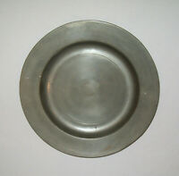 """Old Antique Vtg 1800s Pewter Plate or Shallow Bowl 10"""" Marked London on Scroll"""