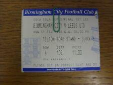 11/02/1996 Ticket: Football League Cup Semi-Final, Birmingham City v Leeds Unite