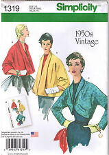 3 Styles Vtg 50s Retro Jackets Bolero Simplicity Sewing Pattern Sz 6 8 10 12 14