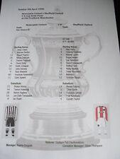 1998 FA Cup Semi Final Newcastle United v Sheffield United Matchsheet