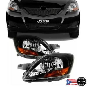 Fits 07-12 Toyota Yaris JDM Sedan Black Bezel Headlights Lamps Left+Right Set