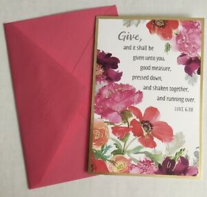 New THANK YOU Floral Greeting Card & Envelope Religious